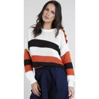 Suéter Feminino Listrado Com Botões Em Tricô Off White