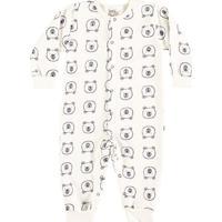 Pijama Bebê Macacão Longo Boca Grande Ursinho - Masculino-Off White
