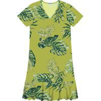 Vestido Com Barra Rodada Verde