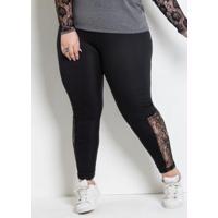 Legging Com Renda Plus Size Preta