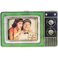 Porta Retrato Mini Tv Metal Verde Oldway 25X23X3