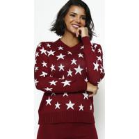 Blusa Em Tricot Estrelas- Bordã´ & Branca- Ponto Aguiponto Aguiar