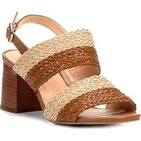 Sandália Shoestock Salto Grosso Mix Tressê Feminina - Feminino-Bege