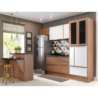 Cozinha Completa Com Bancada E Balcão Com Tampo 8 Peças Calábria Multimóveis Nogueira/Branco