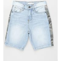 Bermuda Jeans Infantil Com Recorte Camuflado Azul Claro