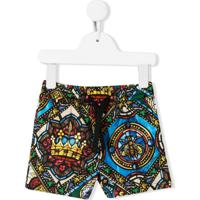 Dolce & Gabbana Kids Stained Glass Print Shorts - Preto