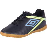 Chuteira Futsal Indoor Umbro Light Preto/Lima/Azul 34