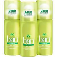 Ban Kit Desodorante Antitranspirante Roll-On 44Ml Trio - Unscented
