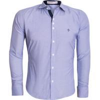 Camisa Unyforme Social Slim Azul Listrada