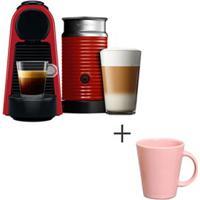 Cafeteira Nespresso Essenza Vermelho - A3Nrd30B - 220V + Canecas Basic Ceramica Com 04 Pecas Rosa - Porto Brasil