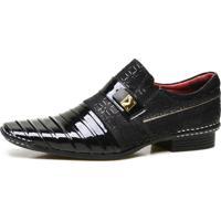Sapato Social Calvest Em Couro Verniz Com Textura Preto