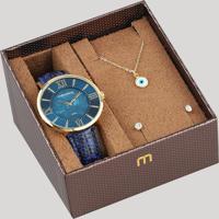 92e578fa54a CEA  Kit De Relógio Analógico Mondaine Feminino + Brinco + Colar -  53713Lpmvdh1K Azul - Único