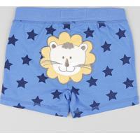 Short Infantil Leão Estampado De Estrelas Azul