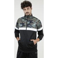 Jaqueta Masculina Esportiva Ace Com Recorte Camuflado Preta