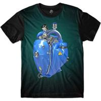 Camiseta Bsc Coração De Máquina Motor Azul Masculina - Masculino-Azul