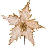 Flor Decoração Natal 25X24Cm Nude