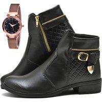 Bota Coturno Cano Curto Fashion Com Relógio Gold Dubuy 207El Preto