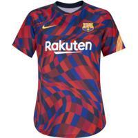 Camisa Pré-Jogo Barcelona 20/21 Nike - Feminina - Vermelho/Amarelo