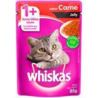 Ração Para Gatos Whiskas Jelly Adulto 1+ Anos Sachê Sabor Carne 85G