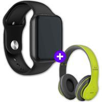 Kit Smartwatch Iwo9 44Mm Preto + Headphone Bluetooth P47 Verde