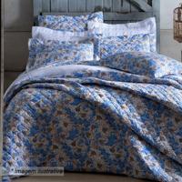 Conjunto De Colcha Flowers Solteiro- Azul & Marrom- Sultan