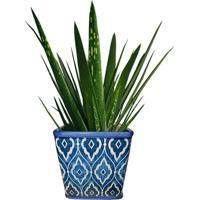 Cachepot Urban Home De Cerâmica Azul Tile Marrocan Pequeno N