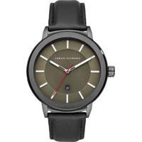 Relógio Armani Exchange Ax1473/0Fn 46Mm Couro Masculino - Masculino-Preto