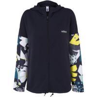 Jaqueta Com Capuz Adidas Bb Farm Hd - Feminina - Azul Escuro
