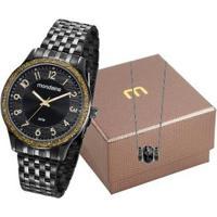 Relógio Mondaine 2K1 + Colar Feminino - Feminino-Preto