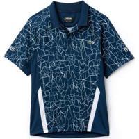 Camisa Polo Manga Longa Lacoste Sport Masculina - Masculino-Azul+Branco