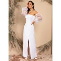 Vestido Longo Branco Com Mangas Em Organza