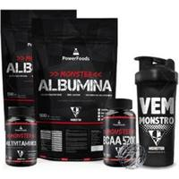 Kit 2X Monster Albumina 500G + Bcaa5200 100Tbs+ Monster Multi Vitamínico 30Cáps+Coq 700Ml Preta - Unissex