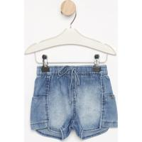 Short Jeans Com Elástico Bolsosazul Clarolook Jeanlook Jeans