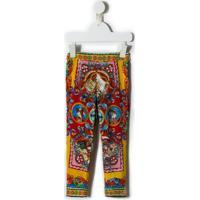 Dolce & Gabbana Kids Calça Legging De Seda Estampada - Estampado