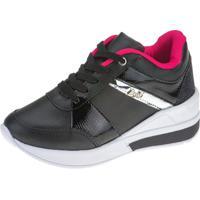 Tênis Sneaker Joys Shoes Flat Form Cadarço Preto