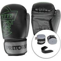Kit Boxe Muay Thai Pretorian: Bandagem + Protetor Bucal + Luvas First - 14 Oz - Adulto - Preto/Cinza