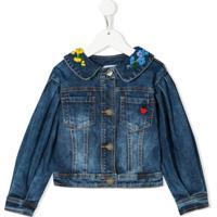 Monnalisa Embroidered Denim Jacket - Azul