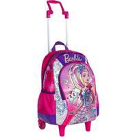Mochila Infantil Barbie Aventura Nas Estrelas Com Rodinhas - Feminino-Rosa