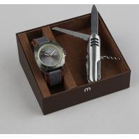 Kit De Relógio Analógico Mondaine Masculino + Canivete - 99354Gpmvsj2K Grafite - Único