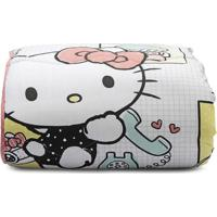 Edredom Hello Kitty® Solteiro- Branco & Preto- 180X2Artex