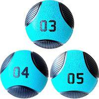 Kit 3 Medicine Ball Liveup Pro 4 E 5 Kg Bola De Peso Treino Funcional Lp8112 Azul