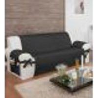 Protetor Para Sofá De 03 Lugares Com Assento De 1,50M Com Laços No Braço E Fitas No Encosto Preto