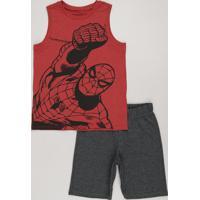 Conjunto Infantil Homem Aranha De Regata Vermelha Gola Careca + Bermuda Em Moletom Cinza Mescla Escuro