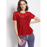 Blusa Em Renda Com Babado - Vermelha- Lança Perfumelança Perfume