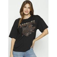 Camiseta Com Correntes- Preta & Marrom- Colccicolcci