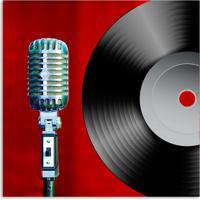 Quadro Microfone Uniart Vermelho 30X30Cm