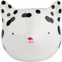 Cachepot Cerâmica Fox With Dots Branca E Preta 11,8 X 10,8 X 10 Cm Urban