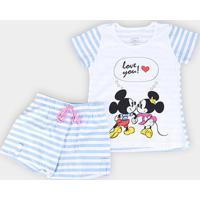 Pijama Infantil Lupo Disney Mickey Minnie - Feminino-Branco