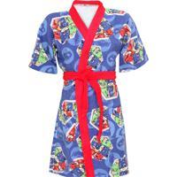 Roupão Lepper Pj Masks Kimono Aveludado Azul/Vermelho