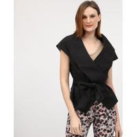Casaco Texturizado Com Faixa - Preto- Cotton Colors Cotton Colors Extra